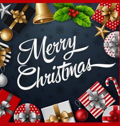 christmas frame with gift box vector image