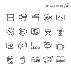 Cinema line icons editable stroke vector