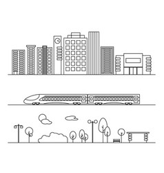 City elements in linear style vector