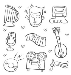 Collection doodle musical instrument theme vector