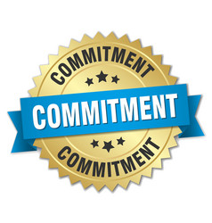 commitment round isolated gold badge vector image