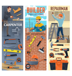 Construction carpenter bricklayer and handyman vector