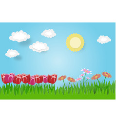 creative spring background with flower clouds sky vector image