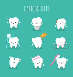 Cute cartoon tooth set baby teeth health vector