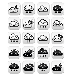 Cute Kawaii clouds with different expressions - ha vector image