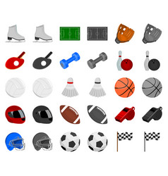 different kinds of sports cartoonmonochrom icons vector image