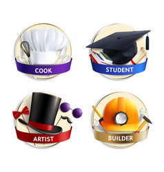 different professions hats realistic emblems vector image