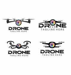 Drone camera logo set vector