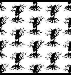 Evil tree halloween pattern vector