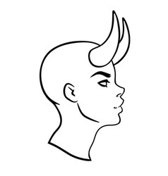 face a demon girl with horns in profile vector image