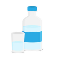 flat of glass water and bottle vector image