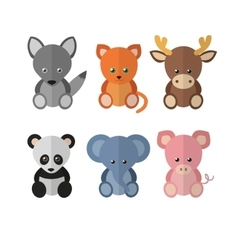 Flat set animals vector