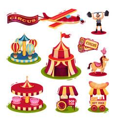 flat set of circus icons carousels carts vector image