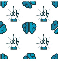forefinger and brain seamless pattern having idea vector image