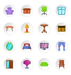 Furniture icons cartoon style vector image