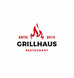 Grill fire flame logo icon vector