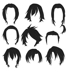 Hair styling for woman drawing Black Set 3 vector