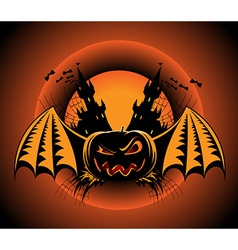 Haloween label with pumpkin vector image
