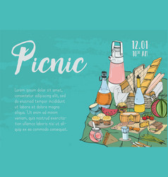 Hand drawn banner poster picnic announcement vector