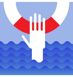 Hand of drowning man vector image