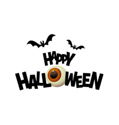 happy halloween black text banner with cartoon eye vector image