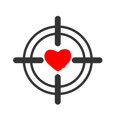 Heart sight aim and love for valentines day vector