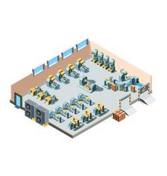 industrial building isometric factory interior vector image