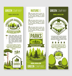 Landscape gardening and eco park banner template vector