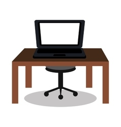 laptop on desk design vector image