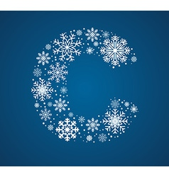 Letter C font frosty snowflakes vector