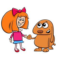 Little girl with funny dog cartoon vector