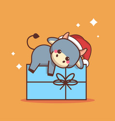 little ox lying on gift box happy chinese new year vector image