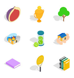 Liveliness icons set isometric style vector