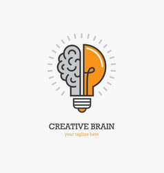 Logo with a half of light bulb and brain vector