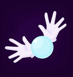 Magicians hands wearing gloves holding crystal vector