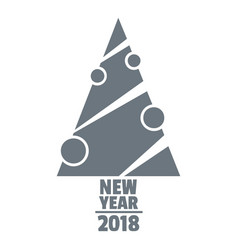 modern christmas tree logo simple gray style vector image