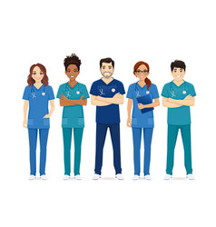 Multiethnic nurse characters group vector