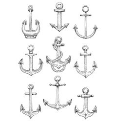 Nautical anchors with rope for marine theme design vector