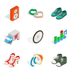online shipping icons set isometric style vector image