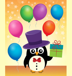party penguin with hat and gift vector image