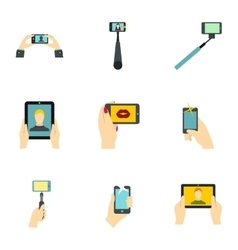 Photo on smartphone icons set flat style vector