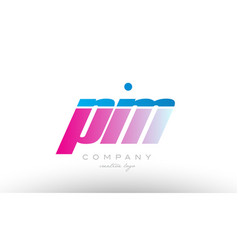 Pm p m alphabet letter combination pink blue bold vector