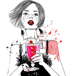 portrait of young woman portrait with cocktail vector image