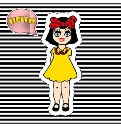 Pretty girl on striped background T-shirt design vector