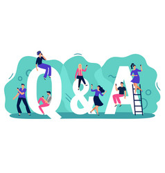 Questions and answers q a with people persons vector