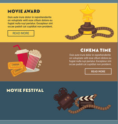 Retro cinema and movie premiere festival web vector