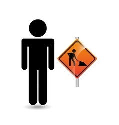 road sign under construction silhouette man vector image
