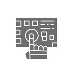 Robot arm presses on the button grey icon vector