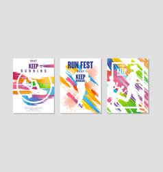 Run fest poster for marathon and running vector