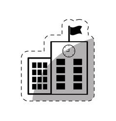 school building flag clock thin line vector image